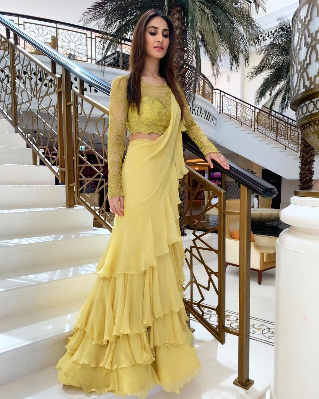 Vaani-kapoor-in-yellow-colored-ruffle-saree