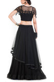 Latest Style Black Net Lehenga With Embroidered Bead Work Cape & Belt Wedding Wear