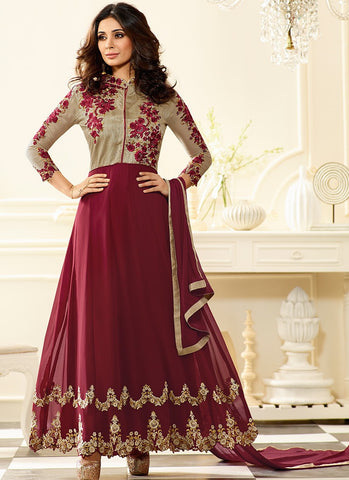 Designer Anarkali Suit Grey & Wine Colored Art Silk & Georgette With Embroidery Suit