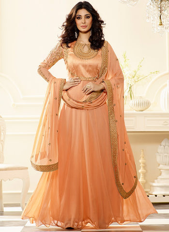 Peach Colored Art Silk & Georgette Jari Embroidery With Stone Work Salwar Suit