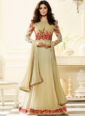 Beige Colored Georgette Anarkali Style Floral Embroidery With Stone Work Salwar Suit