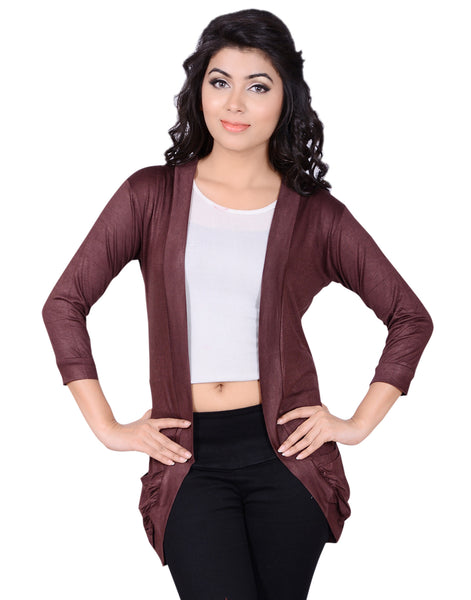 Latest Coffee Color Cotton Plain Casual Shrug For Women