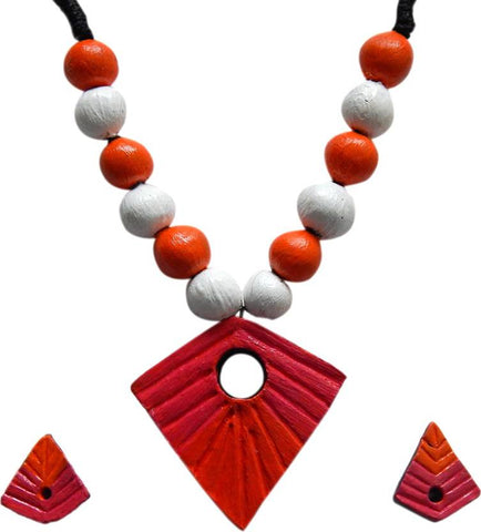 Handmade Collection Multicolored Terarcotta Necklace & Earrings Terracotta Jewel Set