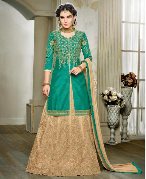 Designer Green Colored Art Silk Zari Embroidery Semi Stitched Salwar Suit Partywear Long Kurtas With Skirts