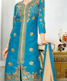 Partywear Sky Blue Colored Art Silk Zari Embroidery Semi Stitched Salwar Suit Designer Long Kurtas With Skirts