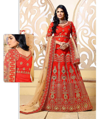 Bridal Lehenga Choli Red Colored Banglori Silk Heavy Embroidered Wedding Ghagra Choli