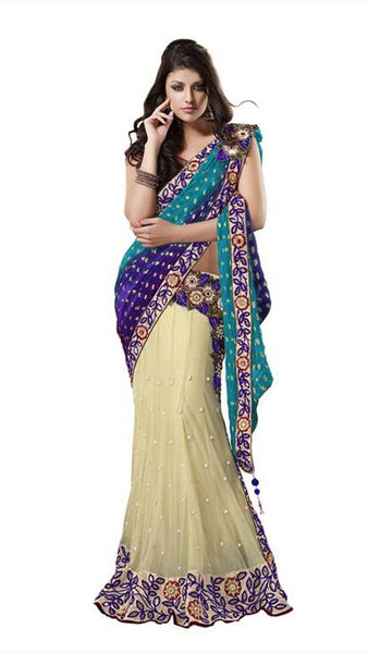 Ethnic Cream And Blue Net Wedding Lahenga Sari With Embroidered Butta And Border Work Bridal Lahenga Saree