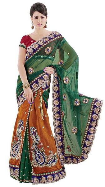 Ethnic Orange And Green Net Wedding Lahenga Sari With Embroidered Butta Border Work Bridal Lahenga Saree