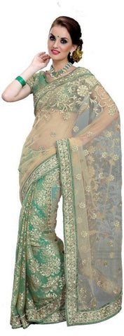 Designer Embroidered Green & Beige Half n Half Fashion Brasso Net Saree Party Wear Saree