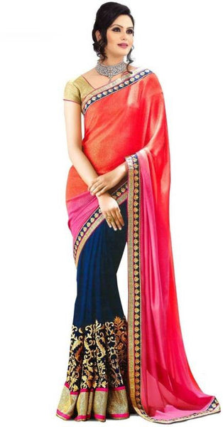 Self Design Orange & Blue Bollywood Georgette Sari Half n Half Wedding Saree
