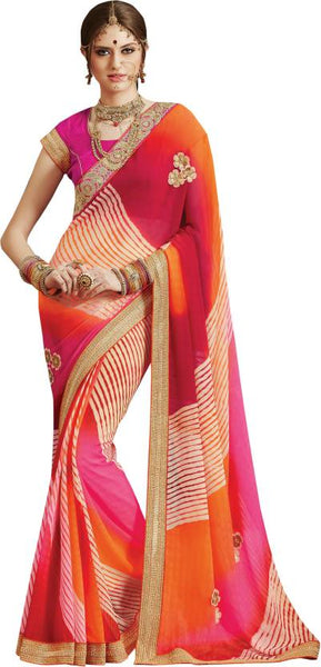 multicolor-stripped-print-floral-embroidered-bandhani-saree-golden-lace-border