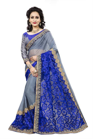 Designer Embroidered Blue & Grey Half n Half Self Lace Border Design Bollywood Net Sari