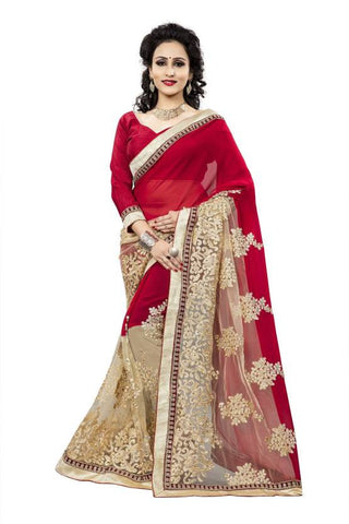 Designer Embroidered Red & Cream Half n Half Self Design Georgette Net Sari