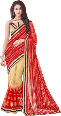 Designer Embroidered Fashion Red & Beige Net Sari Half n Half Net Saree