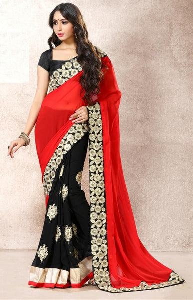 Partywear Red & Black Faux Georgette Heavy Embroidered Zari And Sequin Work 22538 Partywear Saree