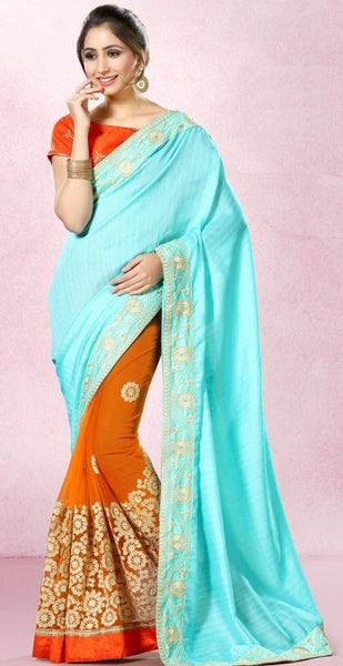 Designer Sky Blue & Orange Colored Pure Bhagalpuri Silk With Zari And Resham Embroiderey 22539 Partywear Saree