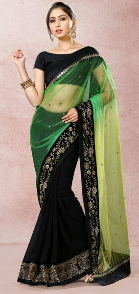 Designer Green & Black Colored Faux Georgette 22542 Partywear Saree With Hand Work And Embroidery Work