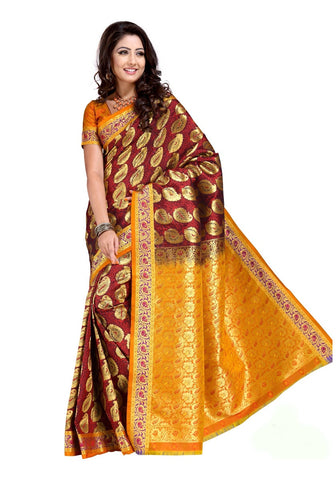 Partywear Dark Maroon and Ochre Designer KanjivaramArt Silk Saree For Women