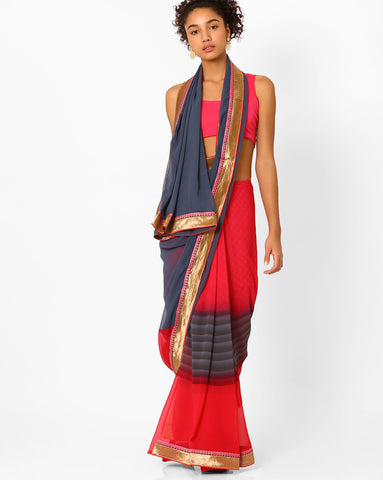 Designer Stripes Pattern Red & Grey Color Georgette Saree with Golden Border