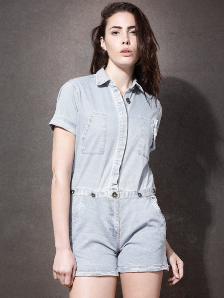 Latest Rompers Blue Two-Way Denim Rompers