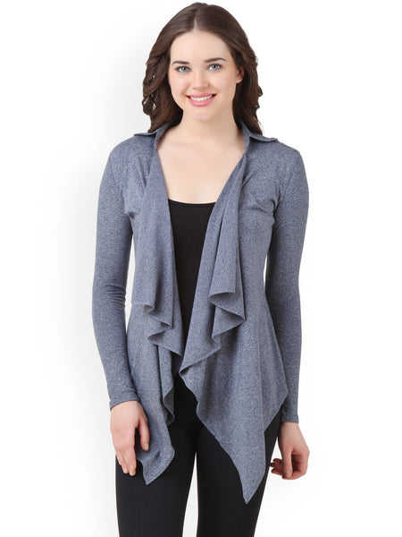 Latest Designer Partywear Grey Cotton Full Sleeves Shrug With Fril For Women