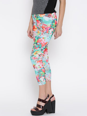 Multicolor Printed Leggings Designer Flower Print Leggings LS36