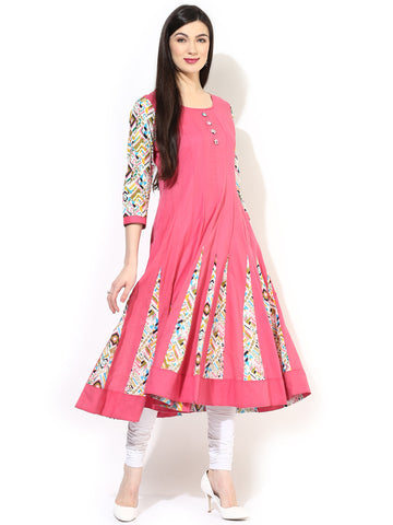 Designer Pink Printed Long Anarkali Cotton Kurtis Kurta Casual Anarkali Kurtis