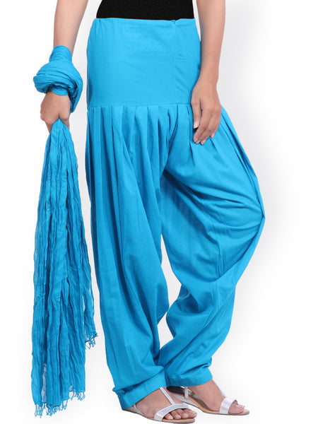 Patiala Pant With Dupatta Skyblue Color Cotton Patiala Salwar With Dupatta LS59
