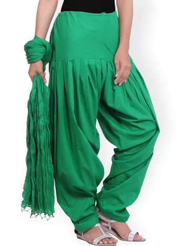 Patiala Pant With Dupatta Green Color Cotton Patiala Salwar With Dupatta LS65
