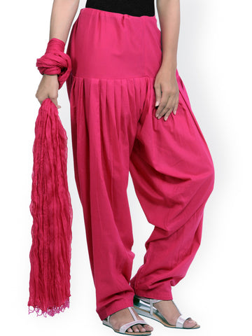 Cotton Patiala Salwar With Dupatta Pink Color Patiala Salwar And Dupatta Set LS56