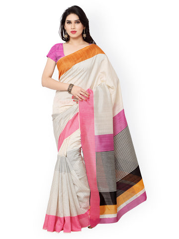 Cream-Colored Art Silk Printed Saree Silk Sarees Online