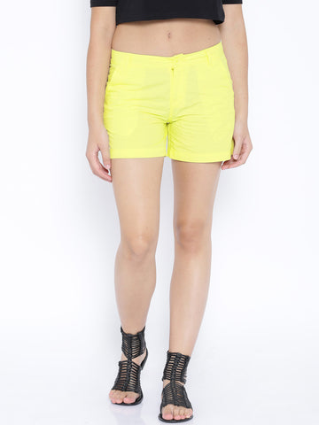 Pantaloons-Yellow-Shorts-Women-Western-Wear