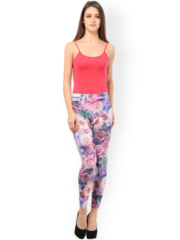 Designer Printed Leggings Purple Color Flower Print Leggings For Women LS34