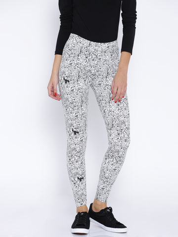Knitted Cotton Leggings Disney Print Black & White Color Printed Leggings LS39
