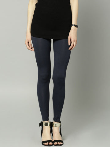 Viscose & Elastane Leggings Blend Navy Ankle-Length Leggings LS11
