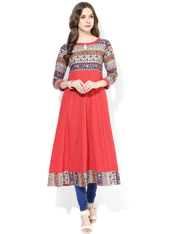 Designer Red Printed Long Anarkali Kurta Ladies Anarkali Kurtis