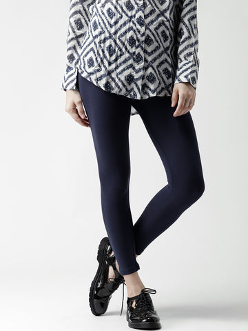 Plain Viscose Leggings Navy Ankle-Length Leggings For Women LS30
