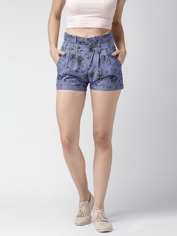 Mast-&-Harbour-Blue-Floral-Print-Shorts-Women-Western-Wear