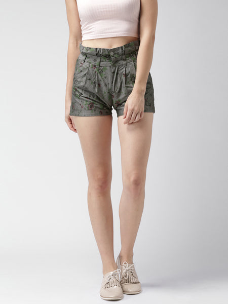 Mast-&-Harbour-Grey-Floral-Print-Shorts-Women-Western-Wear