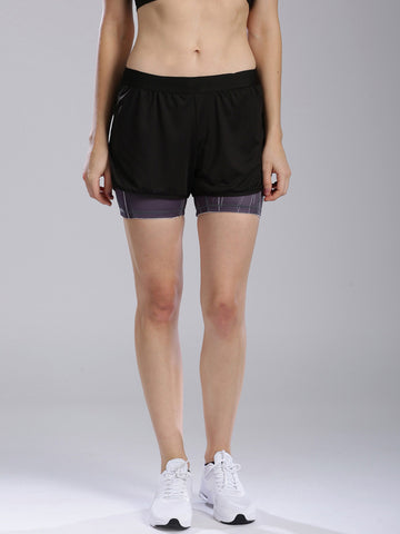 Women-Black-Layered-Training-Shorts-Women-Western-Wear