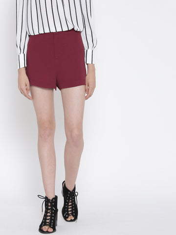 FOREVER-21-Women-Burgundy-Solid-Shorts-Women-Western-Wear