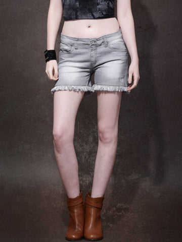 Women-Grey-Washed-Regular-Fit-Shorts-Women-Western-Wear