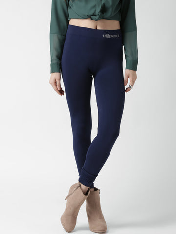 Navy Blue Knitted Leggings For Girls LS7