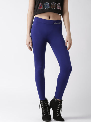Polyester & Elastane Blend Blue Knitted Leggings For Girls LS9