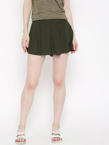 Women-Olive-Green-Solid-Shorts-Women-Western-Wear