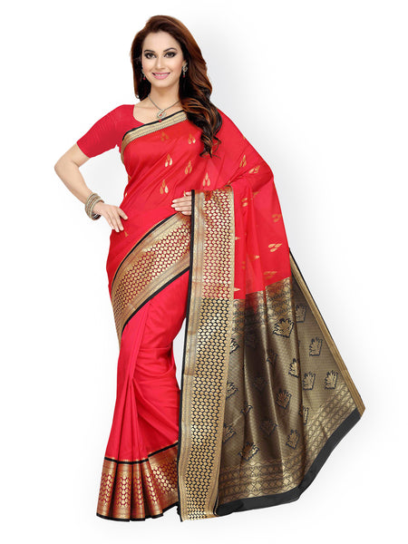 Red Tana Silk Traditional Saree With Zari Woven Design