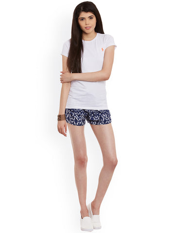 Blue-&-White-Printed-Crepe-Regular-Fit-Shorts-Women-Western-Wear