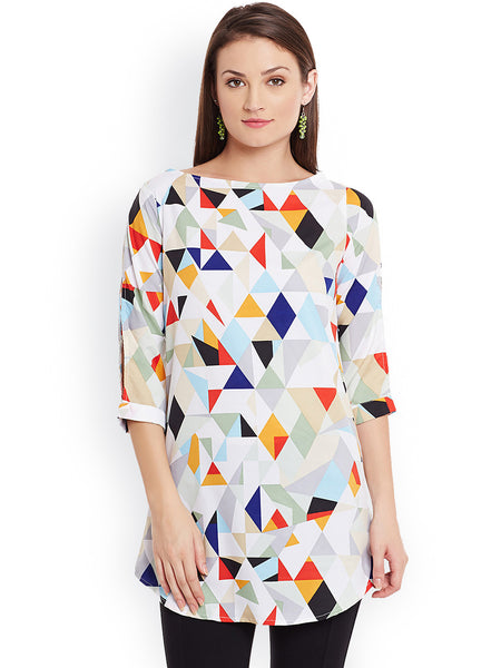Casual Multi Colored Kurti Polyester Printed Traditional Short Kurtis