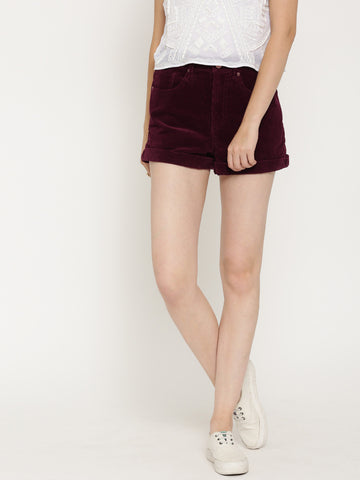 FOREVER-21-Women-Burgundy-Corduroy-Shorts-Women-Western-Wear