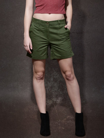 Women-Green-Solid-Regular-Shorts-Women-Western-Wear